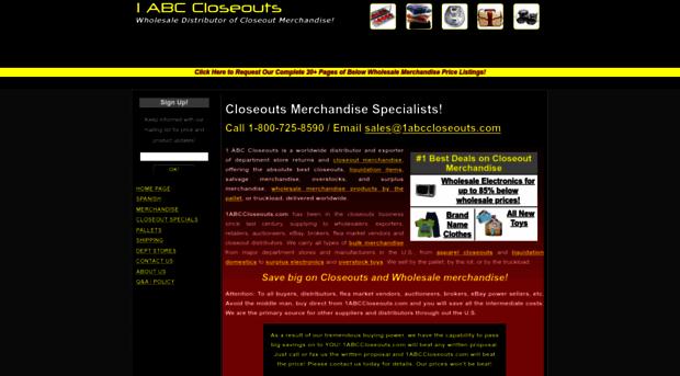 1abccloseouts com - Wholesale Liquidation, salvage    - 1abc