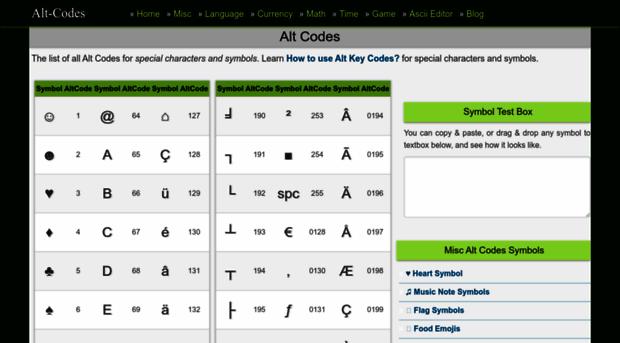 Alt Codes Alt Codes List Of Alt Key Code Alt Codes