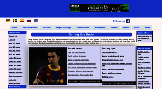 betting-tips-finder com - Quality betting tips - top boo