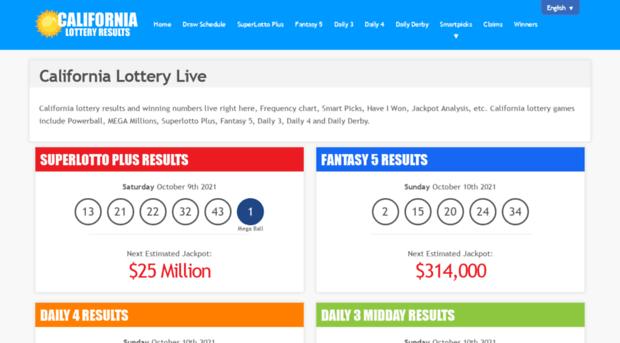 californialotterylive com - California Lottery Live   Resu