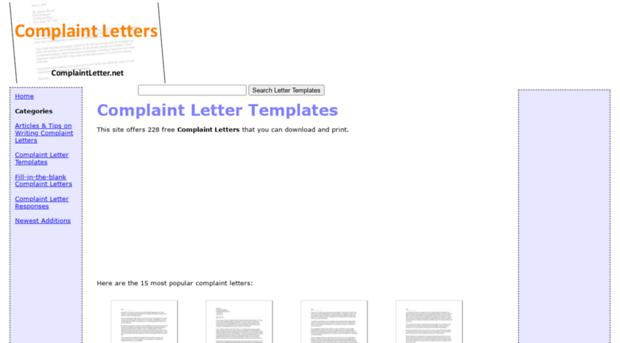 Complaintletter Net Complaint Letters Complaint Letter