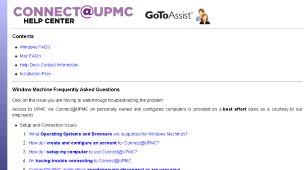 Connect@UPMC Help Center