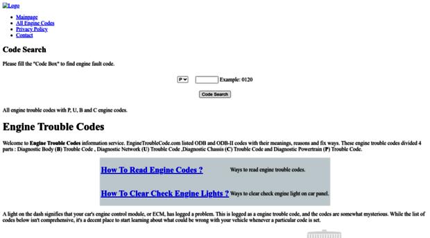 enginetroublecode com - Engine Trouble Codes   EngineT    - Engine