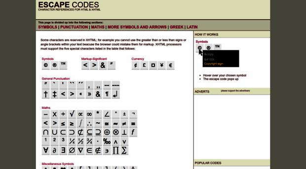 Escapecodesfo Character Escape Codes And Ent Escape Codes