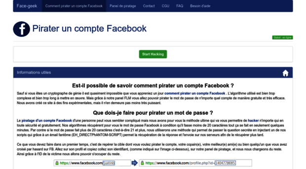 face-geek com Pirater un compte Facebook Gratuitement #1 - 100