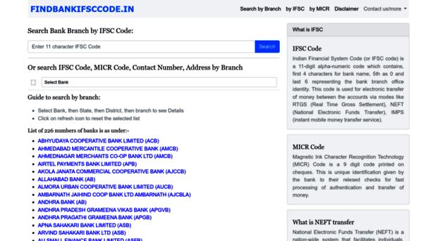 find branch ifsc code
