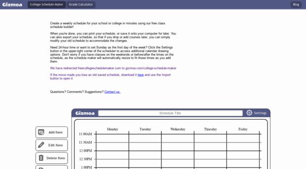 freecollegeschedulemaker com free class schedule maker onli