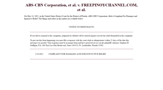 freepinoychannel com ABS-CBN Corporation, et al  v