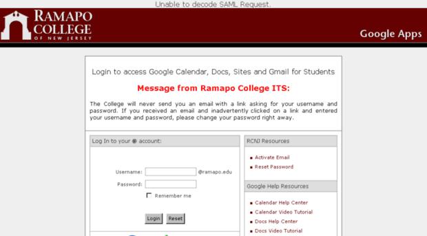 g.ramapo.edu - Ramapo Google Apps Login - G Ramapo