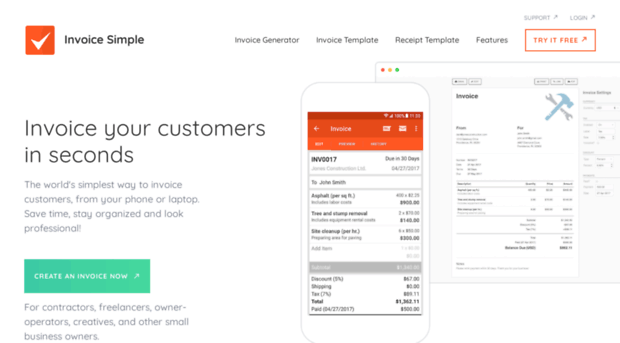 Getinvoicesimple Com Invoice Online Or On The Go Get