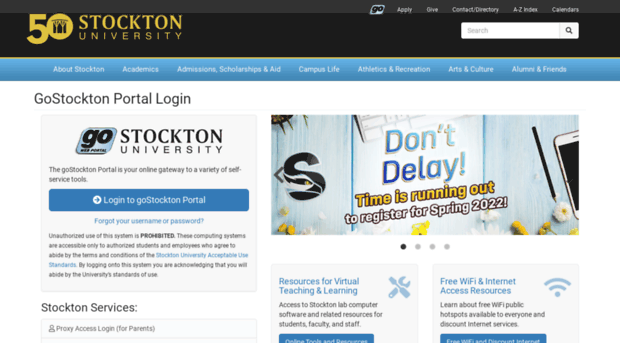 Go Stockton Edu Gostockton Portal Login Port Go Stockton
