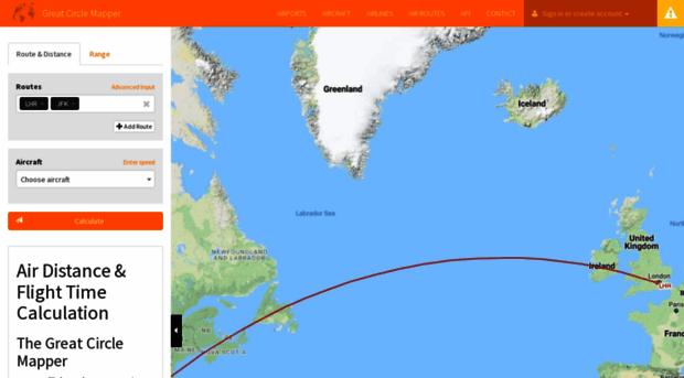 greatcirclemapper.net - Flight Distance and Duration C... - Great ...