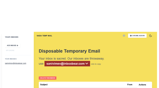 inboxbear com Nada - temp mail - fast and free
