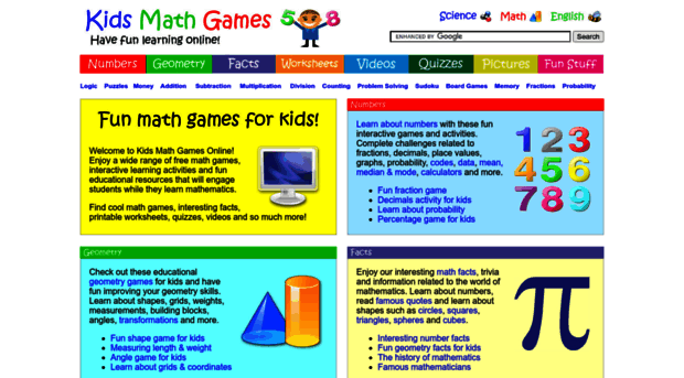 free online math games for kindergarten