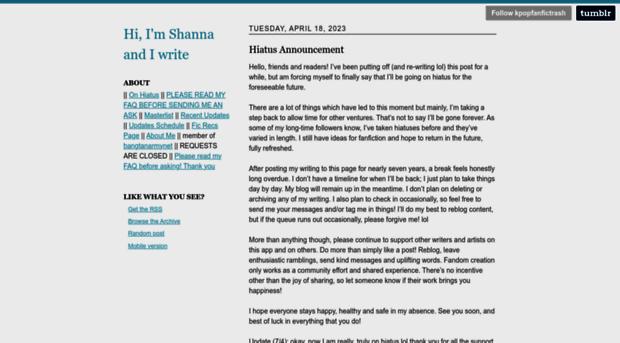 kpopfanfictrash tumblr com - Hi, I'm Shanna and I write