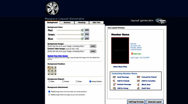 myspace code generator