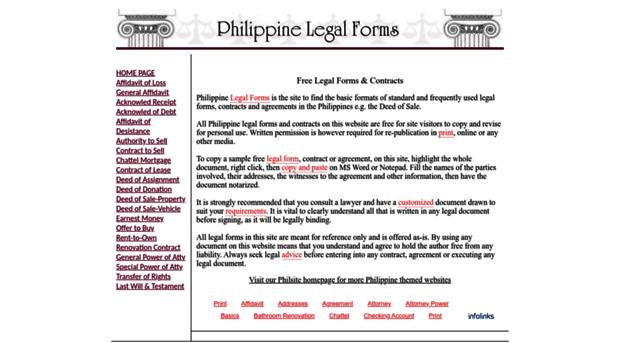 Legalformsphilsitenet Free Legal Forms Contracts Legal - Legal forms contracts