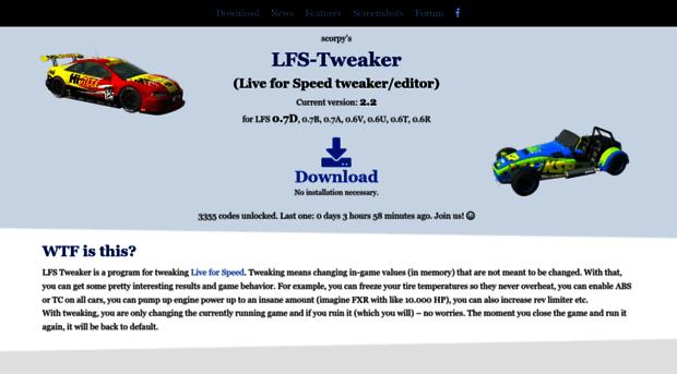 lfs-tweaker com LFS Tweaker - Live for Speed tweak / editor