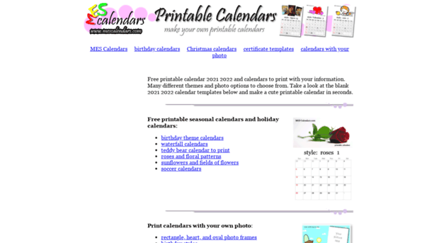 Mescalendars Printable Calendars Mes Calendars