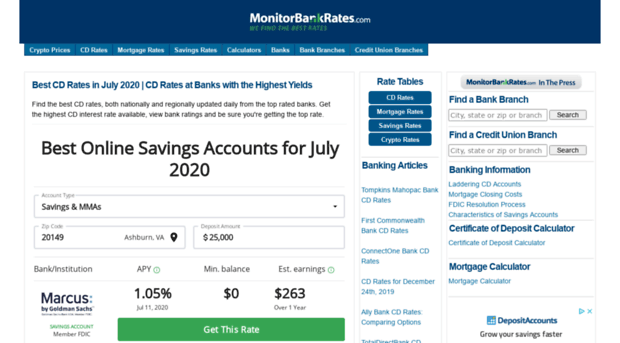 Best Cd Rates >> Monitorbankrates Com Best Cd Rates In December 2019