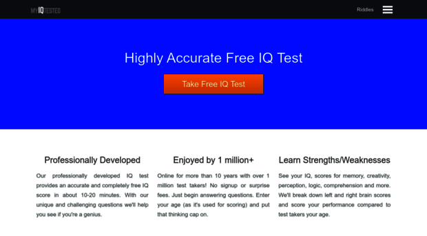 myiqtested com - Free IQ Test - Accurate, Free     - My IQ Tested