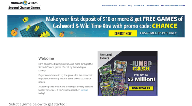 mymibingo com - Michigan Lottery Second Chance    - Mymibingo