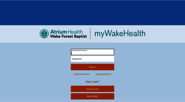 mywakehealth mywakehealth.org - myWakeHealth - Login Page - MyWakeHealth