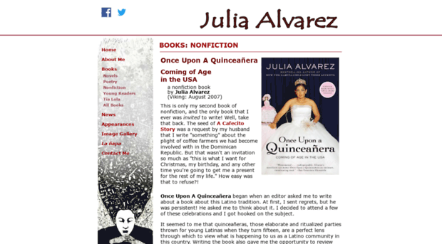 my english julia alvarez Julia alvarez was born on march 27, 1950 she was born in new york city when she was three her family moved back to her families' native land, trujillo in the story my english that julia alvarez wrote is about a little's girls family that moved from the dominican republic to the us the girl's.