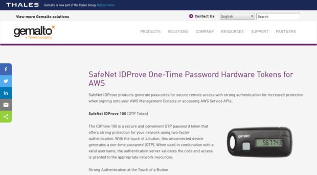 onlinenoram gemalto com - SafeNet IDProve OTP Hardware T