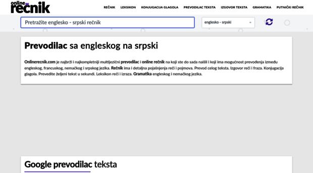 Onlinerecnikcom Rečnik Prevodilac Engleski Srpski