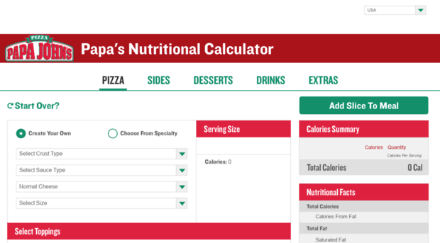 Papas Nutritional Calculator Com Papa John S Pizza Nutritiona