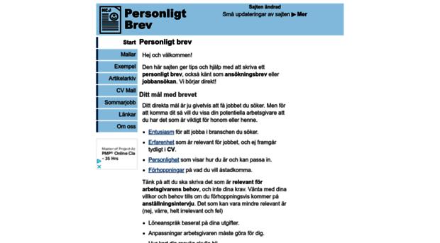 exempel på personligt brev och cv