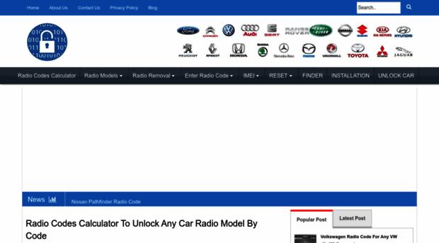 radiocodescalculator com - Radio Codes Calculator To Unlock