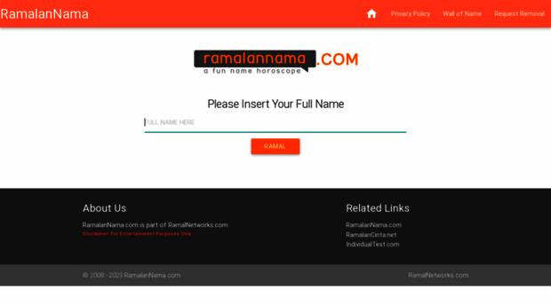 Ramalannama ramalannama a fun name h ramalan nama this website is safe and with a generally positive reputation reheart Image collections