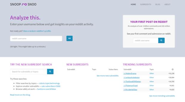 snoopsnoo com SnoopSnoo - reddit user and subreddit analytics