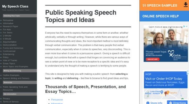topic ideas for informative speech