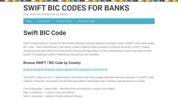 swiftbiccode.com - Swift BIC Codes for Banks - Swift BIC Code