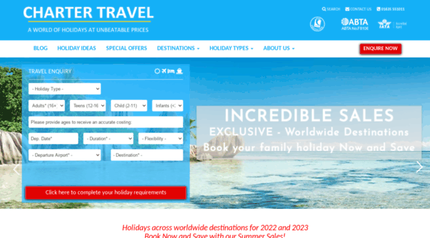 Tailormade holiday packages charter travel