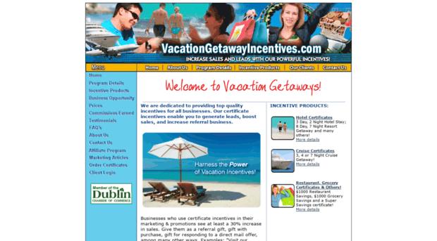 vacationgetawayincentives com vacation certificate incentive
