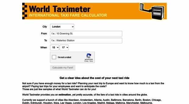 taxi fare calculator world taxi meter. Black Bedroom Furniture Sets. Home Design Ideas