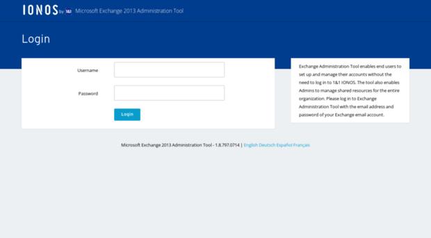 xadmin exchange 1and1 com - Exchange Administration Tool