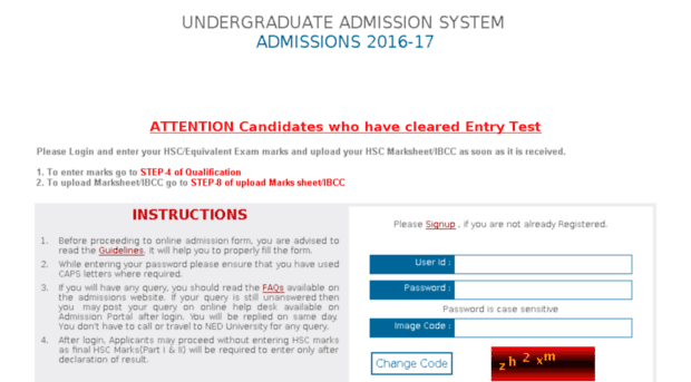 admissions.neduet.edu.pk