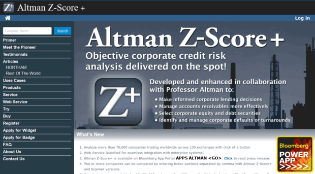 altman z score Credit risk can be quantified by the altman z-score model the altman z-score is based on 5 different ratios each measuring a different aspect of company.