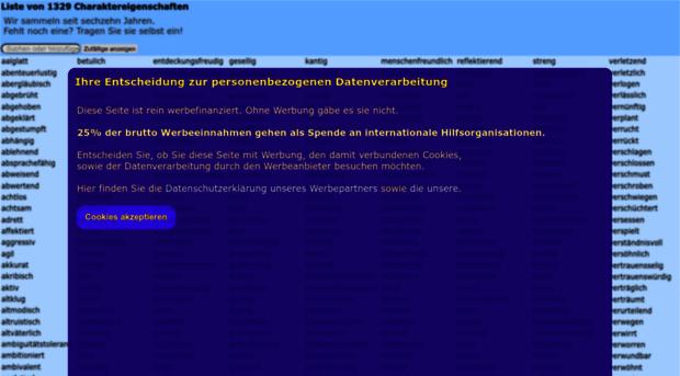 charaktereigenschaften.miroso.de - Liste von 1325