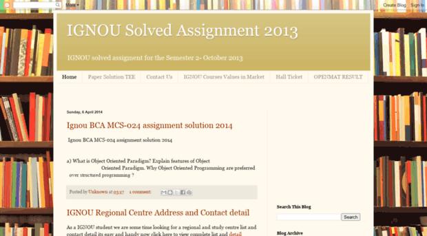 assignment 2013