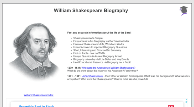 a biography of william shakespeare and his works