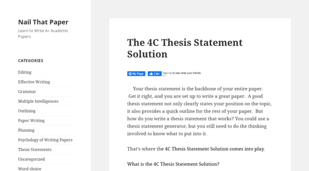 nail that paper thesis generator Nail that paper your thesis statement is the backbone of your entire paper get it right, and you are set up to write a great paper confused about how to construct an effective outline here are three websites that will help you do the job thesis builder/outline generator.