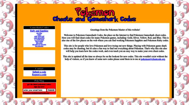 pokemon sapphire gameshark codes - 777×423
