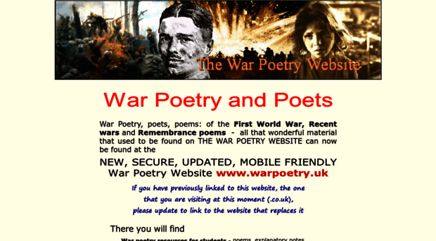 poets of first world war An illustrated collection of poetry from the first world war, which includes biographical details of the poets in addition to examples of their work the poets featured include john william streets, isaac rosenberg, wilfred owen, siegfried sassoon, rupert brooke, edward thomas and robert graves.